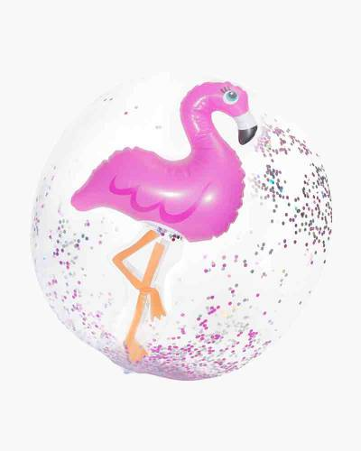 Flamingo 3-D Confetti Glitter Beach Ball