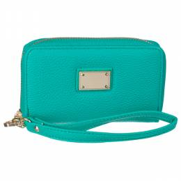 Time World Teal Leather Wristlet