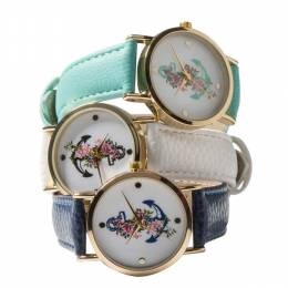 Time World Flower-Wrapped Anchor Watch