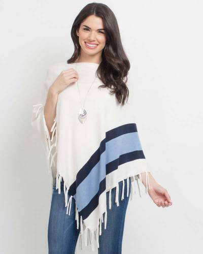 Exclusive Blue Stripe Fringe Poncho
