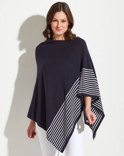 Poncho in Navy with White Stripes