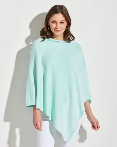 Exclusive Poncho in Mint with White Stripes