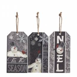 Transpac Imports Vintage Snowman Wall Tag (Assorted)