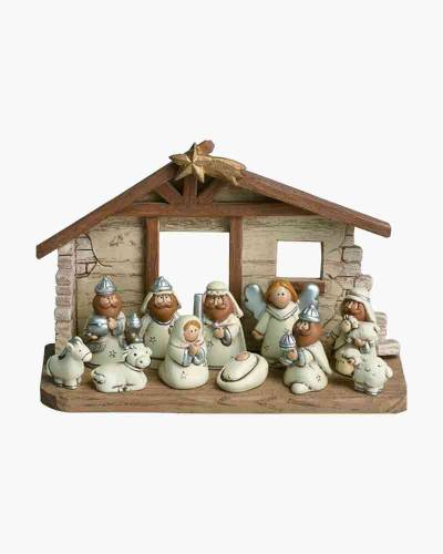 Resin Kids Nativity with Creche