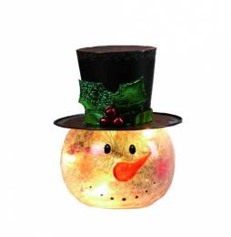 Transpac Imports Crackle Glass Snowman Head