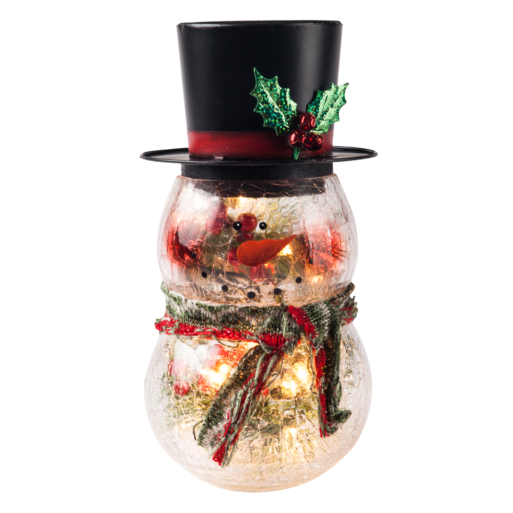 Transpac Imports Light-Up Crackle Glass Snowman