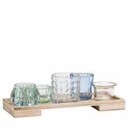 Transpac Imports Wooden Tray with Tea Light Holders