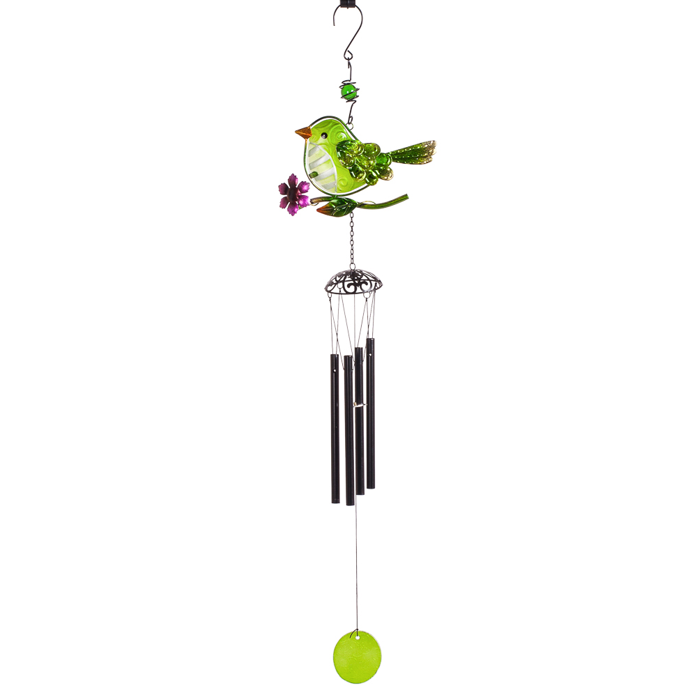 Transpac Imports Bird Wind Chime in Green