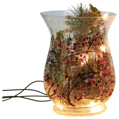 Crackle Glass Holiday Lighted Hurricane