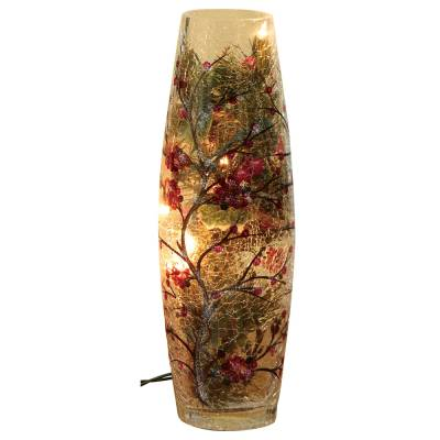 Crackle Glass Holiday Lighted Vase