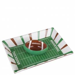 Transpac Imports Game Day Chip and Dip Football Platter