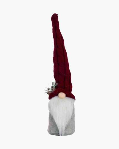 Red Plush Gnome Figure with Mistletoe