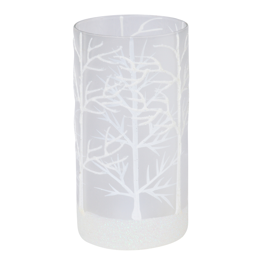 Two's Company Snowy Forest Glitter Votive Candle Holder