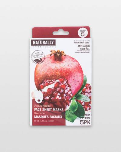 Pomegranate Anti-Aging Face Masks (5-Pack)