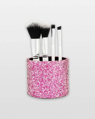 Five-Piece Brush Set in Glitter Pink