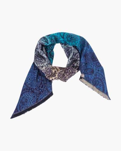 Turquoise Print Bias Cut Cashmink Scarf
