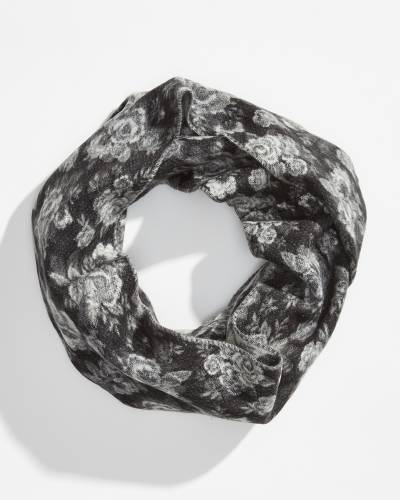 Floral Cashmink Infinity Scarf in Black and White