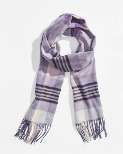 Plaid and Stripes Cashmink Scarf in Purple