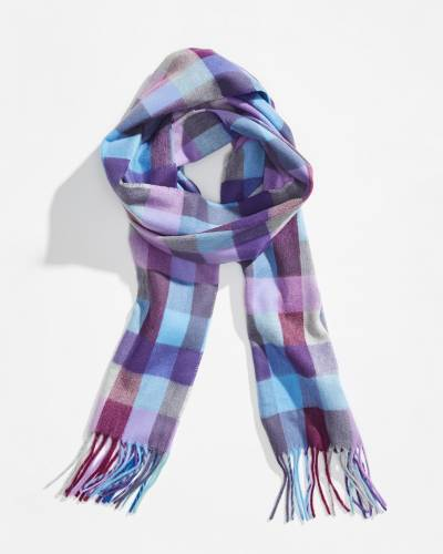 Mini Check Cashmink Scarf in Purple
