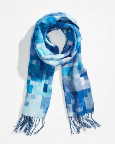 Cube Print Cashmink Scarf in Royal Blue
