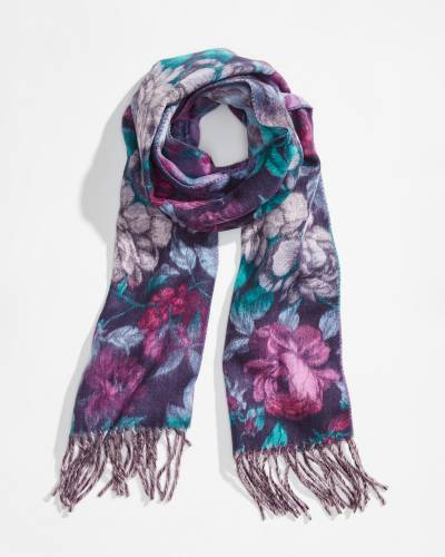 Floral Cashmink Scarf in Purple