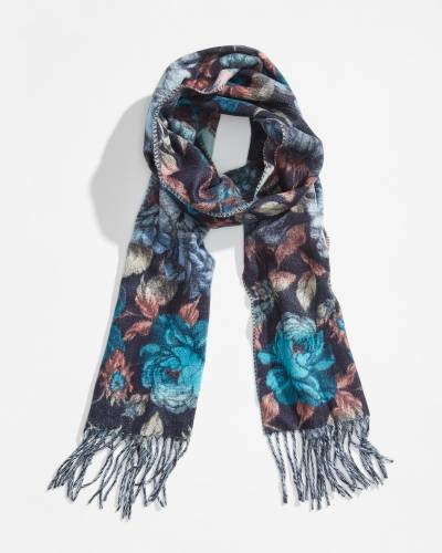 Floral Cashmink Scarf in Turquoise