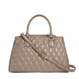 Vera Bradley Quilted Leather Emma Satchel in Taupe