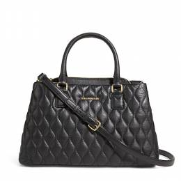 Vera Bradley Quilted Leather Emma Satchel in Black