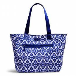 Vera Bradley Trimmed Reversible Tote in Cobalt Tile with Navy