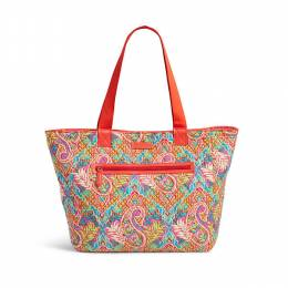 Vera Bradley Trimmed Reversible Tote in Paisley in Paradise with Red
