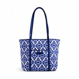 Vera Bradley Small Trimmed Vera Tote in Cobalt Tile with Navy