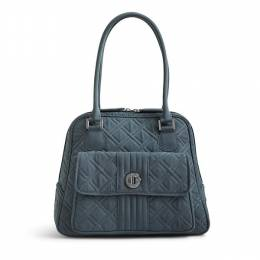 Vera Bradley Turn Lock Satchel in Charcoal