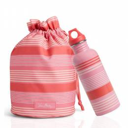 Vera Bradley Ditty Bag and Water Bottle Bundle in Pink Tonal Stripe