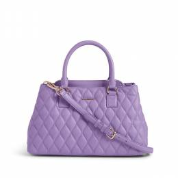 Quilted Leather Emma Satchel in Lavender