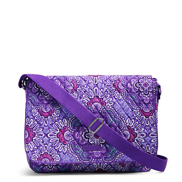 Vera Bradley Laptop Messenger Crossbody in Lilac Tapestry