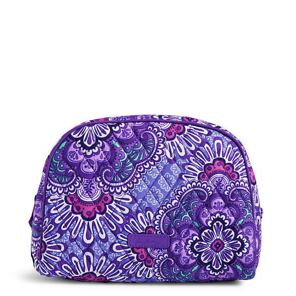 Vera Bradley Large Zip Cosmetic Bag in Lilac Tapestry