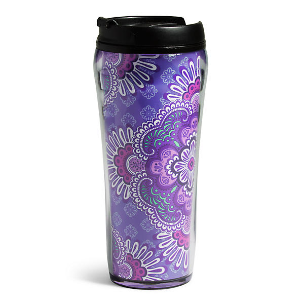 Vera Bradley Travel Mug in Lilac Tapestry