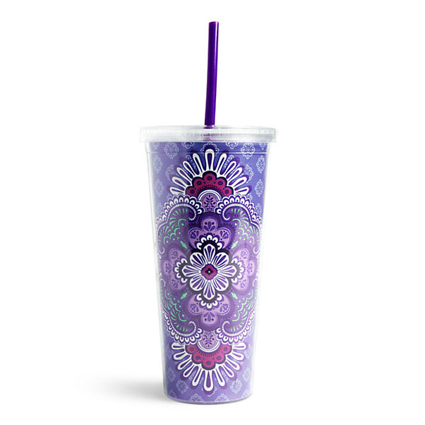 Vera Bradley Travel Tumbler in Lilac Tapestry