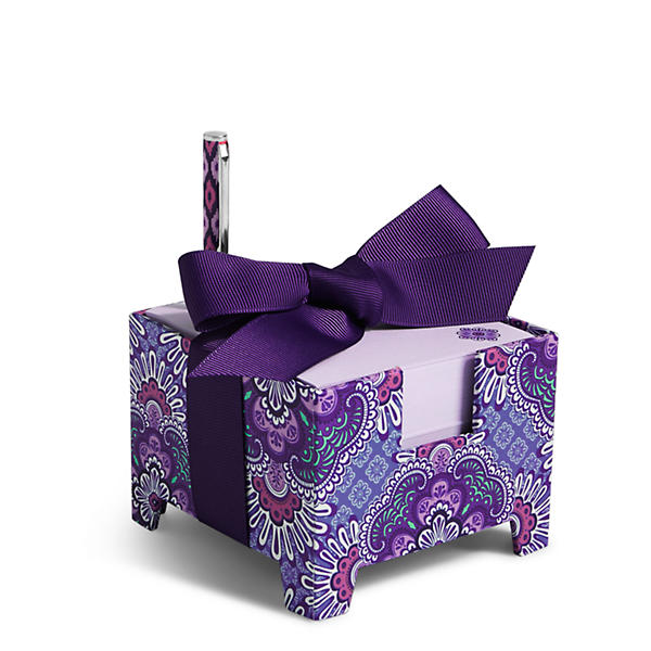 Vera Bradley Note Cube and Mini Pen in Lilac Tapestry