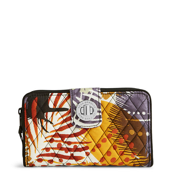 Vera Bradley Turn Lock Wallet in Painted Feathers