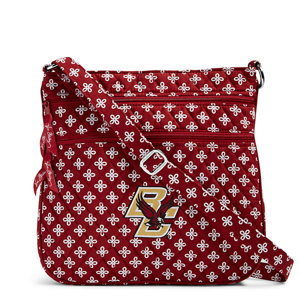 Vera Bradley Triple Zip Hipster Crossbody in Cardinal/White Mini Concerto with Boston College Logo