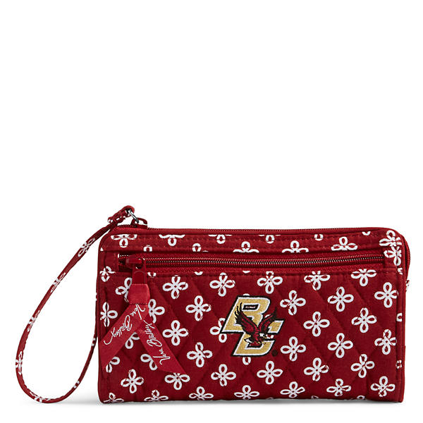 Vera Bradley Front Zip Wristlet in Cardinal/White Mini Concerto with Boston College Logo