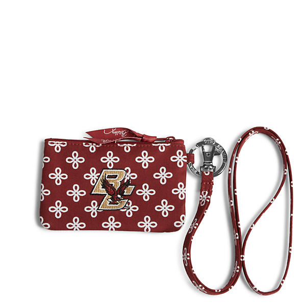Vera Bradley Lanyard & Zip ID in Cardinal/White Mini Concerto with Boston College Logo