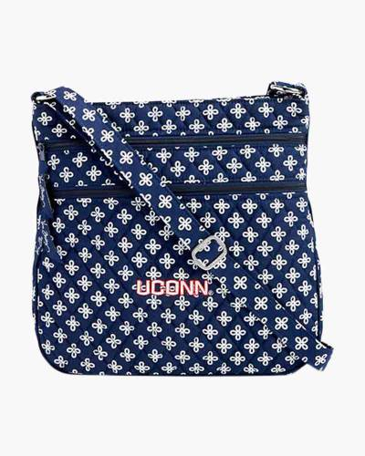 Triple Zip Hipster Crossbody in Navy/White Mini Concerto with UConn Logo