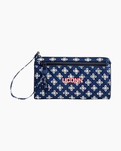 Front Zip Wristlet in Navy/White Mini Concerto with UConn Logo