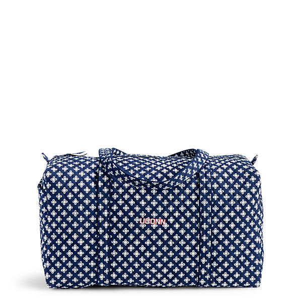 Vera Bradley Large Duffel Travel Bag in Navy/White Mini Concerto with U Conn Logo
