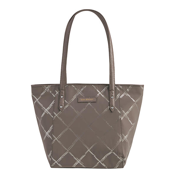 Vera Bradley Preppy Poly Small Ella Tote in Burnished Pewter
