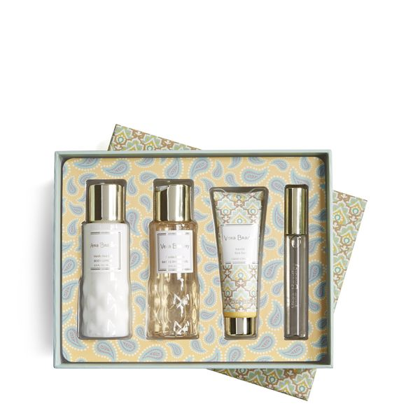 Vera Bradley Discovery Travel Set in Vanilla Sea Salt