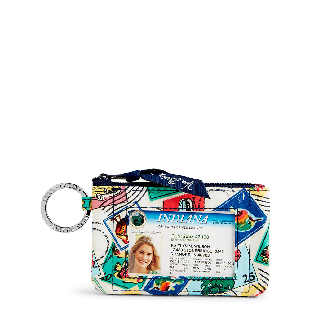 Vera Bradley Zip ID Case in Stamps