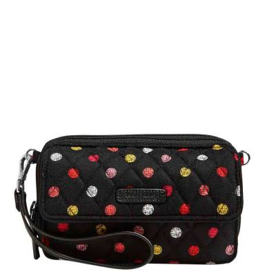 RFID All in One Crossbody and Wristlet in Havana Dots